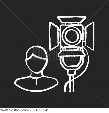 Lighting Technician Chalk White Icon On Black Background. Professional Worker For Electrical Equipme