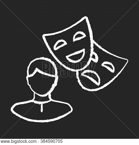 Actor Chalk White Icon On Black Background. Theater Performer. Drama Professional. Artist With Theat
