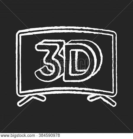 3d Television Chalk White Icon On Black Background. Three Dimensional Visual Effect. Plasma Tv Scree