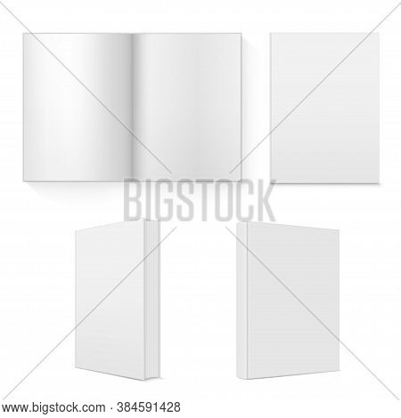 Book, Copybook, Textbook. Schoolbook, Workbook, Coursebook Open, Closed Realistic Mockups Set.
