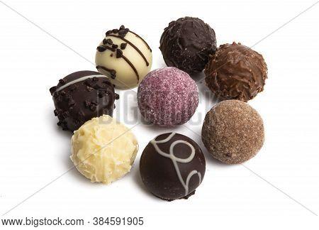Chocolate Truffles Bonbon Isolated On White Background
