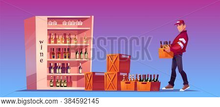 Loader Carries Box With Bottles To Store, Shop Storage Or Bar. Delivery Alcoholic Drinks. Vector Car