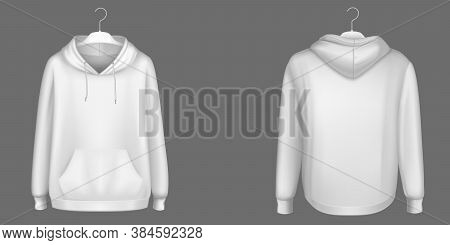 Hoody, White Sweatshirt On Hanger Mock Up Front And Back View. Isolated Hoodie With Long Sleeves, Ka