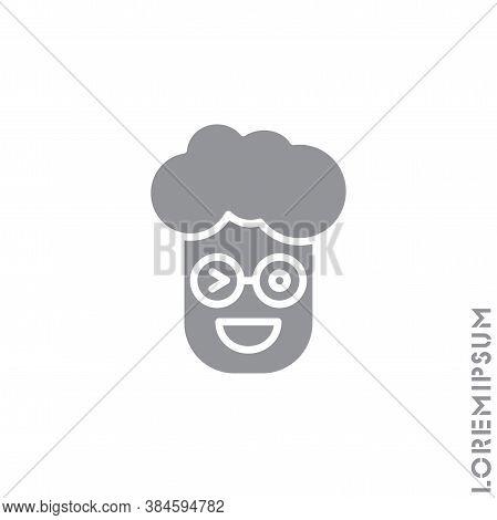 Winking Boy, Man Icon. Smile Emoticons Isolated Gray On White Background. Vector Illustration. Wink