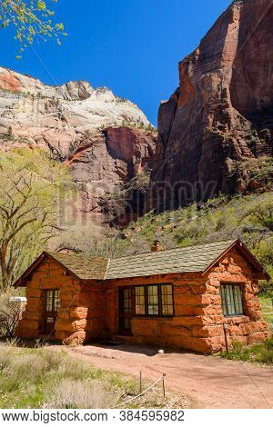 Utah, Usa - April 7,2019: Beautiful House In Zion National Park Located In The Usa In Southwestern U