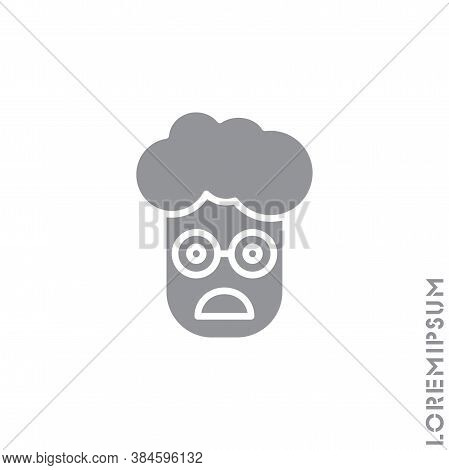 Frowning With Open Mouth Emoji Vector Boy, Man Icon. Frowning With Open Mouth Emoji Icon, Vector Sim