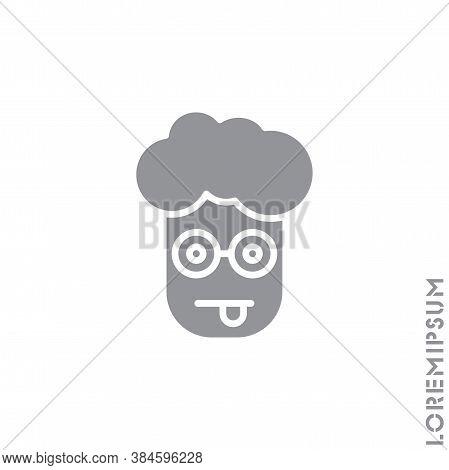 Mocking Funny Humor Emoticon Boy, Man Icon Vector Illustration. Style. Gray On White Background