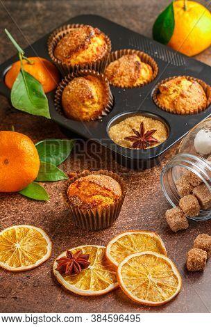 Fresh Baked Homemade Citrus (orange, Mandarin) Cakes Muffins With Brown Sugar, Cinnamon And Star Ani