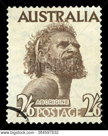 Australia - Circa 1952: A Postage Stamp Printed In The Australia Showing An Aborigine Man Named One