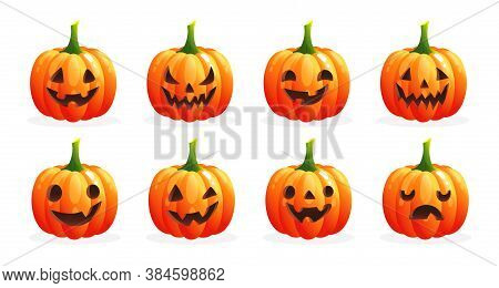 Set Of Spooky Halloween Pumpkins With Various Face. Orange Pumpkins With Emotions On White Backgroun
