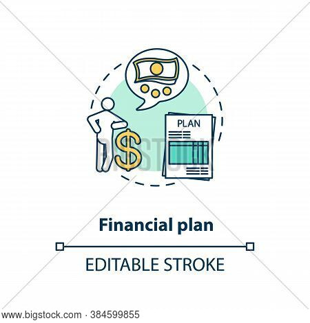 Financial Plan Concept Icon. Money Future Goal. Wealthy Retirement. Financial Ideas. Economic Tips I