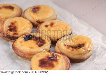Traditional Portuguese Popular Dessert Pastel De Nata Or Pastel De Belem. Delicious Puff Pastry Cups