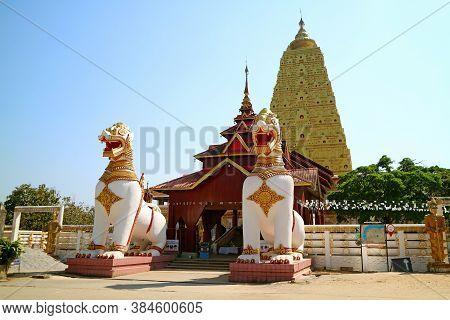 Chedi Buddhakhaya, Iconic Temple Of Sangkhlaburi District Built In The Style Of Buddhagaya Mahabodhi