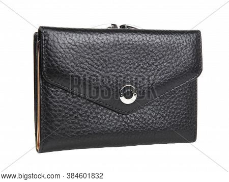 New Black Wallet Of Genuine Cattle Leather. Without Shadows. Isolated On White Background. Close-up