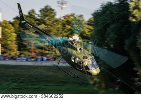 Szolnok / Hungary - August 20, 2019: Hungarian Air Force Airbus Helicopters Eurocopter As350 H125m E