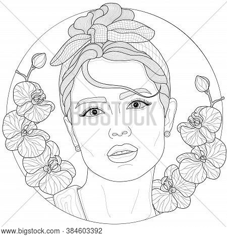 Girl With A Rim On Her Head And Orchids Around.coloring Book Antistress For Children And Adults. Ill