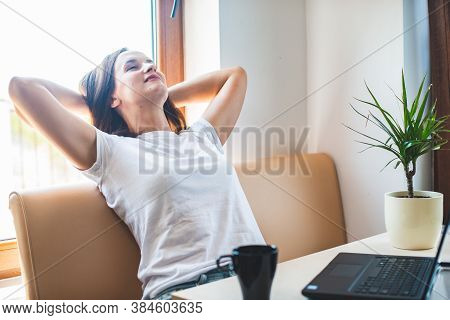 Calm Smiling Woman Relaxing With  Hands Behind Head, Happy Woman Resting  Satisfied After Work Done,