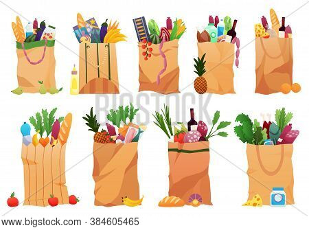 Collection Of Paper Shopping Bags Products Grocery. Vegetables, Bread, Dairy Products, Vine, Meat An