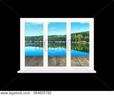 Window In Modern Room With Panoramic View To Forest Lake Isolated On Black. View From Window To Pine