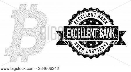 Excellent Bank Rubber Seal And Vector Bitcoin Mesh Model. Black Stamp Has Excellent Bank Title Insid