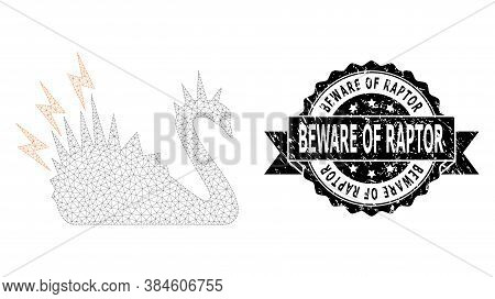 Beware Of Raptor Grunge Stamp Seal And Vector Black Danger Swan Mesh Model. Black Seal Contains Bewa