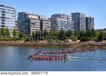 Vancouver, British Columbia, Canada - June 24, 2017. Vancouver Dragon Boat Races. Dragonboat Teams R