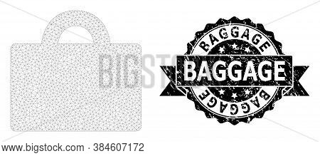 Baggage Dirty Seal Imitation And Vector Baggage Mesh Structure. Black Stamp Has Baggage Title Inside