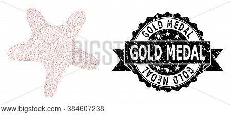 Gold Medal Unclean Seal And Vector Bent Star Mesh Structure. Black Stamp Seal Has Gold Medal Title I