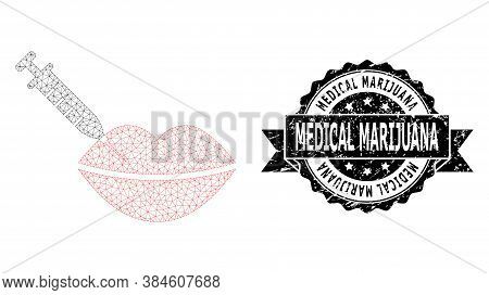 Medical Marijuana Textured Stamp Seal And Vector Botox Lips Injection Mesh Structure. Black Stamp Se