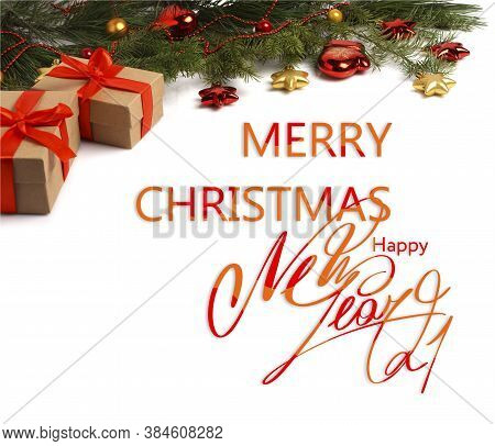 Christmas Card. Merry Christmas And Happy New Year. Text With Christmas Evergreen Branches, Christma