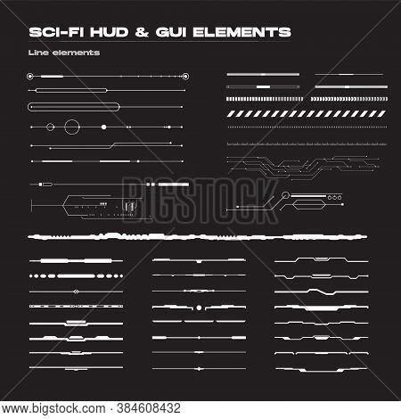 Abstract Futuristic Sci-fi Concept User Interface Hud. Vector Set Of Linear Techno Futuristic Vector