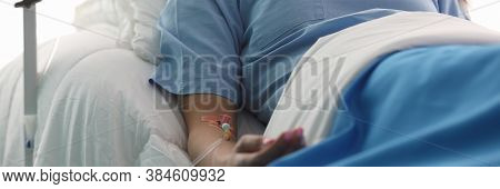 Beautiful Girl Lies Hospital With Droplet Her Hand. Diagnosis Treatment Neurological Diseases. Intra