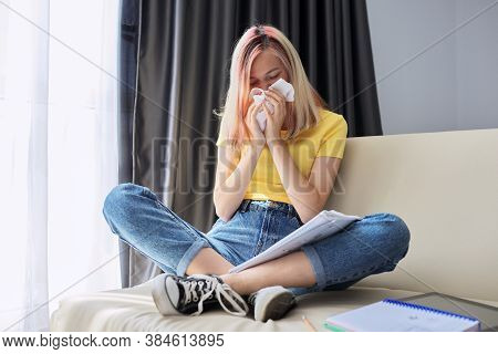 Flu Season, Female Teenager Student Sneezing In Handkerchief, Girl Sitting At Home On The Couch Writ