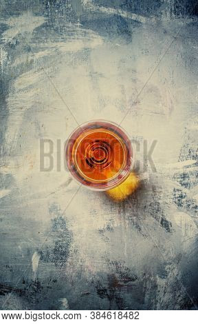 Brandy In A Glass, Toned Image, Top View