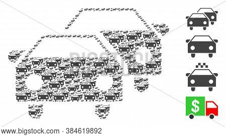 Vector Car Traffic Composition Is Done Of Scattered Recursive Car Traffic Parts. Fractal Composition