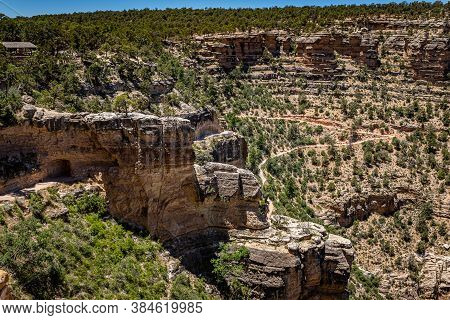 A View Of The Bright Angel Trailhead At The Grand Canyon In Arizona From The Rim Trail On The South