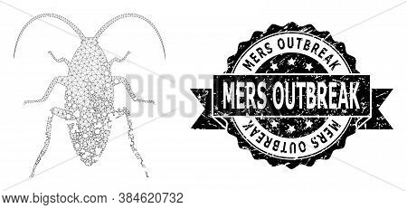 Mers Outbreak Textured Stamp And Vector Damaged Cockroach Mesh Structure. Black Stamp Has Mers Outbr
