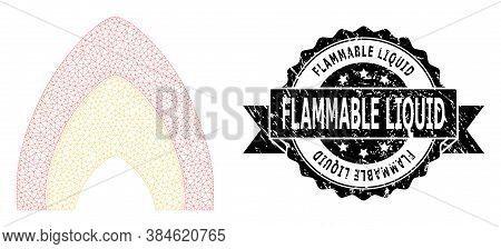 Flammable Liquid Textured Stamp Seal And Vector Fire Flame Mesh Model. Black Stamp Seal Contains Fla