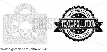 Toxic Pollution Textured Seal Imitation And Vector Mortal Case Mesh Structure. Black Stamp Seal Has