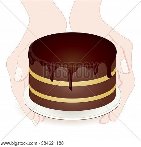 Cake In Two Hands Sketch Art Design Elements Colorful Hand Stock Vector Illustration For Web, For Pr