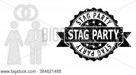 Stag Party Grunge Seal Print And Vector Marriage Persons Mesh Model. Black Seal Has Stag Party Text