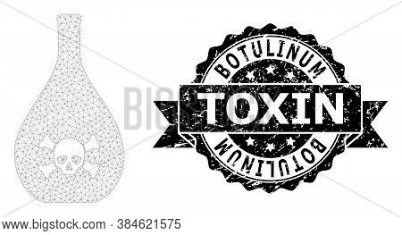 Botulinum Toxin Rubber Stamp And Vector Poison Jug Mesh Model. Black Seal Includes Botulinum Toxin T