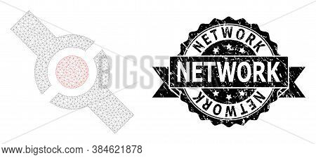 Network Unclean Stamp Seal And Vector Connector Mesh Model. Black Stamp Seal Has Network Tag Inside