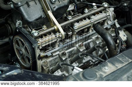 The Engine Of A Modern Car During Repairs.
