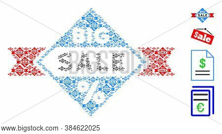 Vector Big Sale Composition Is Constructed Of Scattered Recursive Big Sale Elements. Fractal Composi