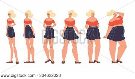 Woman Different Body Form Shape Change, Weight, Diet Effect. Female Figure Type Set. Girl Underweigh