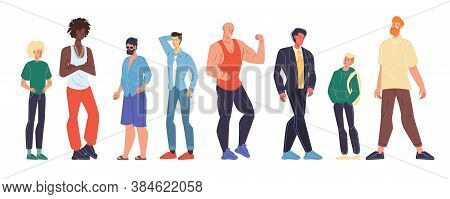 Multiracial Man Different Age, Nationality, Appearance, Body Shape Type Size, Weight, Height Set. Te