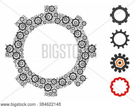 Vector Cog Composition Is Done From Randomized Self Cog Icons. Recursion Mosaic From Cog. Some Other