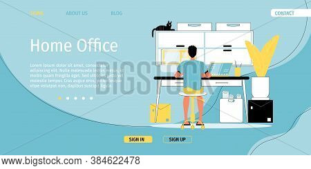 Home Office. Comfortable Workspace Organization. Adult Businessman Worker Sitting Front Of Computer