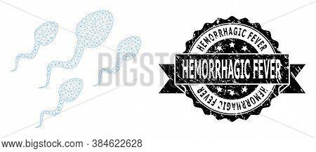 Hemorrhagic Fever Rubber Seal Print And Vector Sperm Cells Mesh Model. Black Seal Includes Hemorrhag